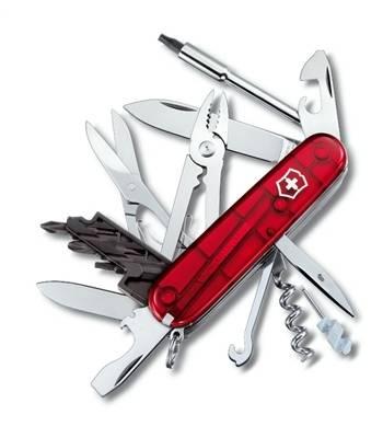Нож Victorinox 1.7725.T CyberTool 34, 91мм, прозр.красный