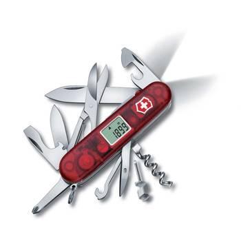 Нож Victorinox 1.7905.AVT Traveller Lite, 91мм, прозрачный красный с часами и фонариком