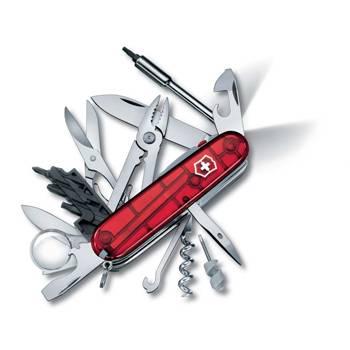 Нож Victorinox 1.7925.T CyberTool Lite, 91мм, прозрачный красный с фонариком