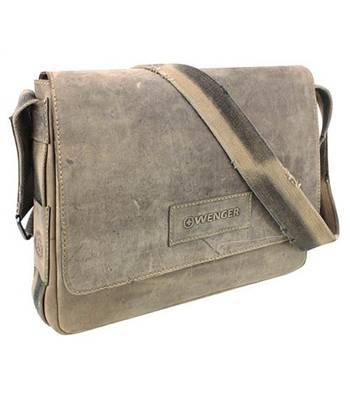 """Кожаная сумка наплечная Wenger W16-04 """"STONEHIDE"""", коричневый, кожа, 39х10x31см"""