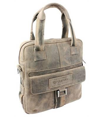 """Кожаная сумка вертикальная Wenger W16-05 """"STONEHIDE"""", коричневый, кожа, 35x9x37 см"""
