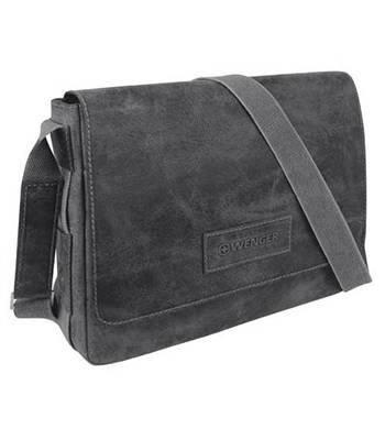 """Кожаная сумка наплечная Wenger W23-01Bl """"ARIZONA"""", черный, 37х10x29 см"""