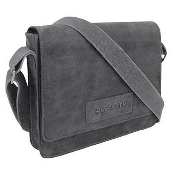 """Кожаная сумка наплечная Wenger W23-02Bl """"ARIZONA"""", черный, 30х7x25 см"""
