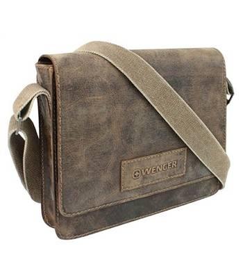 """Кожаная сумка наплечная Wenger W23-02Br """"ARIZONA"""", коричневый, 30х7x25 см"""