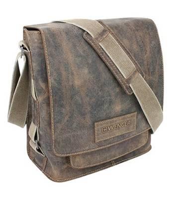 """Кожаная сумка наплечная вертикальная Wenger W23-05Br """"ARIZONA"""", коричневый, 31х15х32  см"""