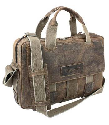 """Кожаный портфель на молнии Wenger W23-06Br """"ARIZONA"""", коричневый, 44x10x33 см"""