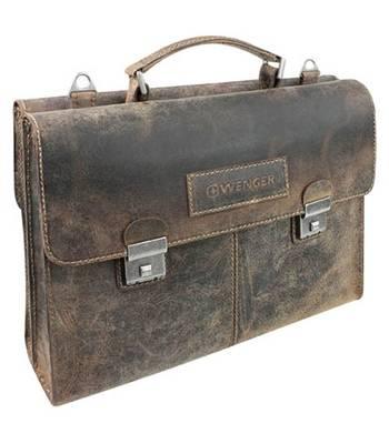 """Кожаный портфель двусторонний Wenger W23-07Br """"ARIZONA"""", коричневый, 40x11x31 см"""