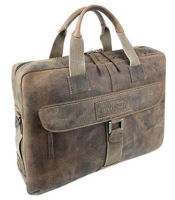 """Кожаный портфель на молнии Wenger W23-10Br """"ARIZONA"""", коричневый, 55x11x40см"""