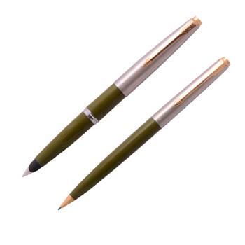 Набор Parker 45: перьевая ручка + карандаш, 1969г., перо М, нерж. сталь, удовл. сост., арт. 139