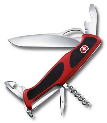 Нож Victorinox RangerGrip 61 (арт. 0.9553.MC, 130мм 11 функций красно-чёрный)