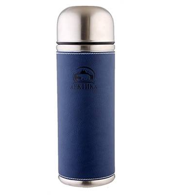 Термос Арктика с узким горлом 108-500 синий (с кожаной вставкой, 500 мл)