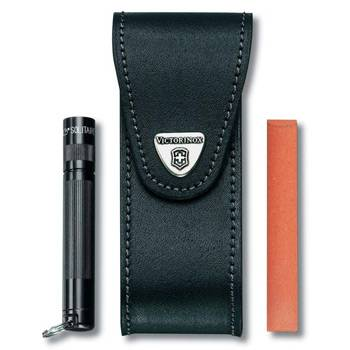 Чехол на ремень Victorinox (для ножа 111мм) 4.0524.32 (толщ 6 уровн, д/фонаря и точ.камня, кож,чёрн)