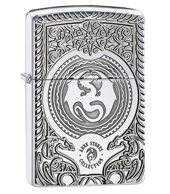Зажигалка Zippo 28962 Anne Stokes Armor High Polish Chrome