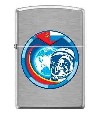 Зажигалка Zippo 200 Космонавт Brushed Chrome